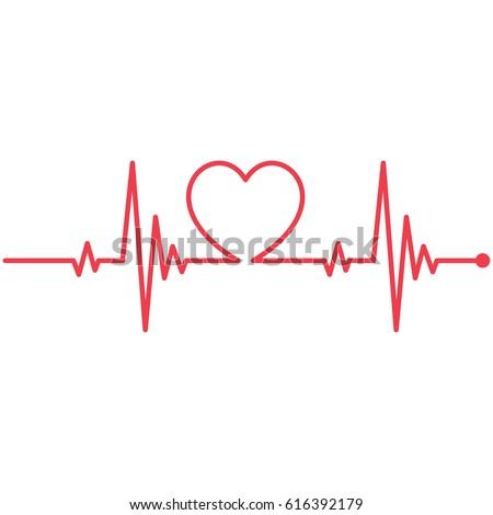 Heartbeat Line Heart Cardio Stock Vector 616392179 ...