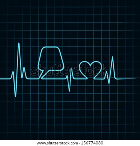 Heartbeat make a message bubble and heart icon stock vector