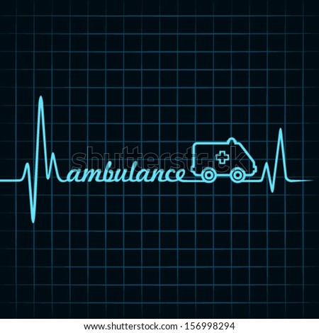 heartbeat make ambulance text and symbol stock vector - stock vector