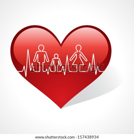 heartbeat make family icon inside heart symbol stock vector - stock vector