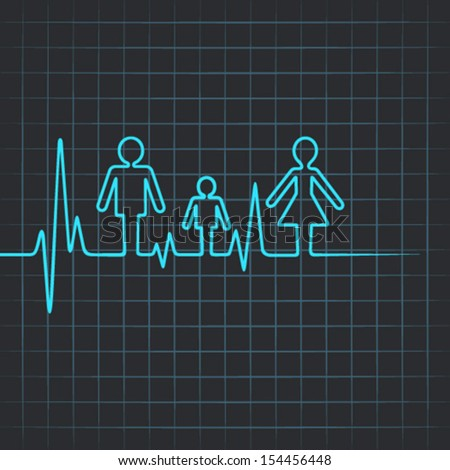 Heartbeat make family icon symbol - vector illustration - stock vector
