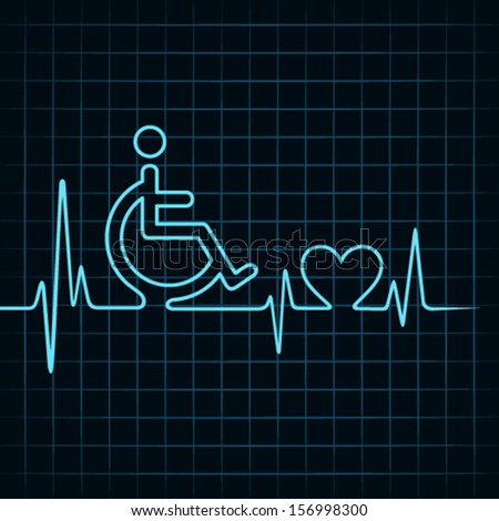 heartbeat make handicapped and heart symbol stock vector - stock vector