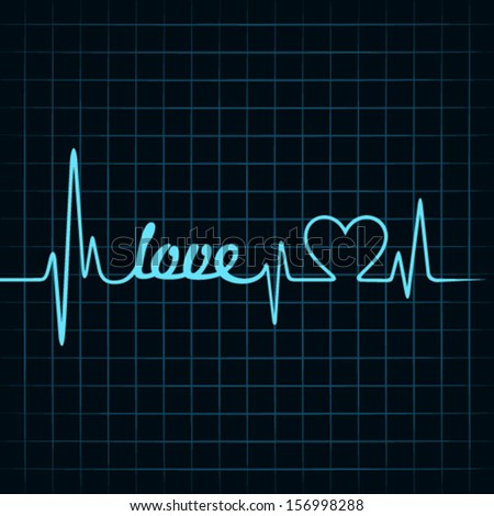 heartbeat make love text and heart symbol stock vector - stock vector