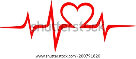 Heartbeat Music, Frequency, Wave Heart - stock vector