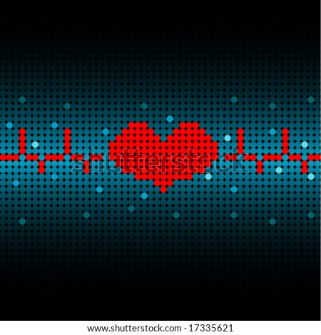 Heartbeat textured vector background