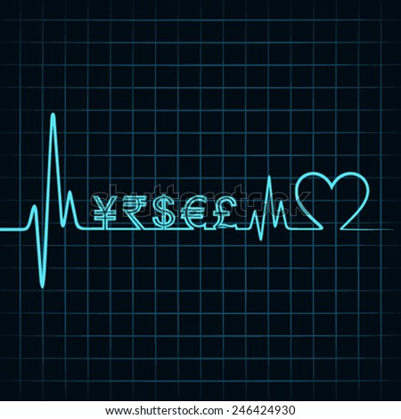 Heartbeat with a currency symbol in line stock vector - stock vector