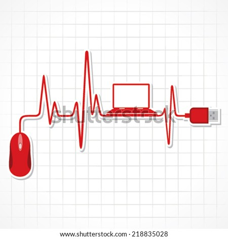 heartbeat with mouse and laptop stock vector - stock vector