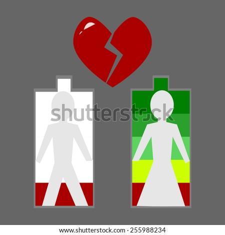 heartbreak, love level low battery vector - stock vector