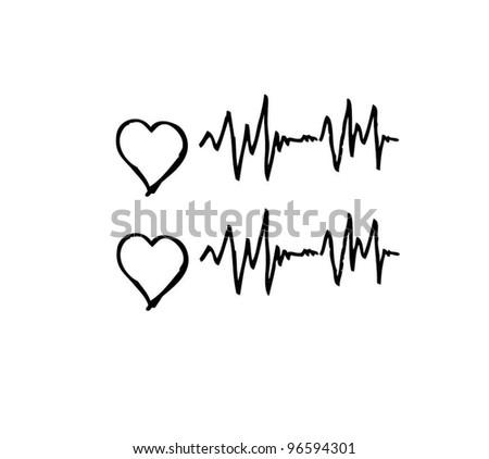 hearth pulse line medical vector illustration - stock vector