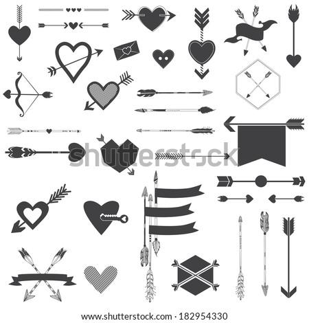 Hearts and Arrows Set - for Valentine's Day, Wedding, Design, Scrapbook - in vector - stock vector
