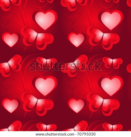 Hearts and butterflies  seamless pattern, eps10. - stock vector