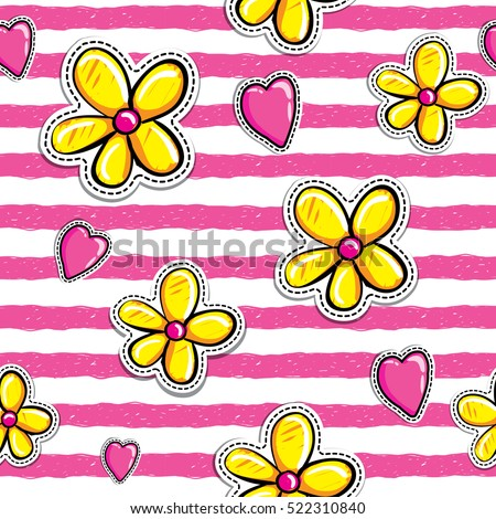 Hearts And Cartoon Flowers Pattern On White Pink Stripes Background Repeated Backdrop For Girls