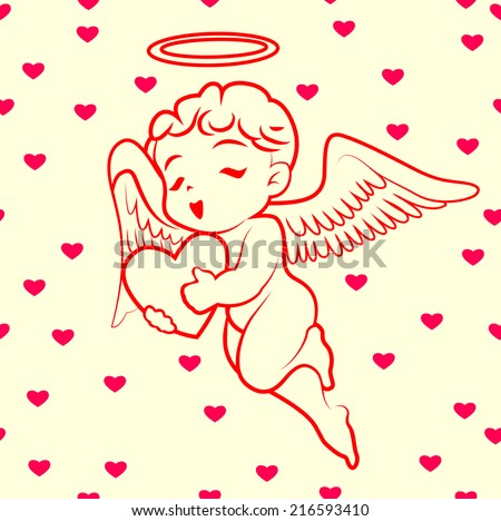 Hearts and cupid  pattern vector - stock vector