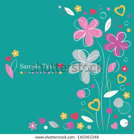 hearts and flowers greeting card on green background - stock vector