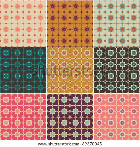 Hearts and flowers  seamless patterns
