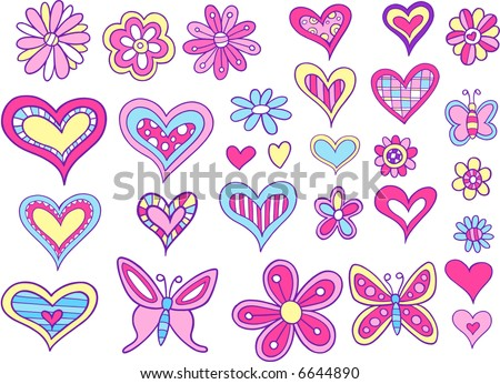 Hearts and Flowers Set Vector Illustration