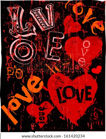 Hearts and love, super grungy, vector illustration - stock vector