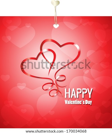Hearts And Valentin`s Day Card With, Vector Illustration
