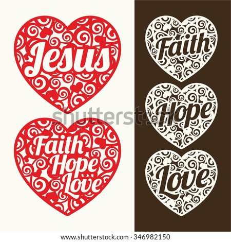 Hearts and words. Jesus, hope, faith and love - stock vector