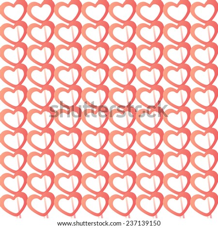Hearts background red, vector.