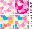 Hearts background tiled - stock vector