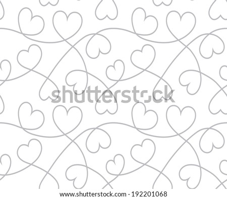 Hearts background to Valentine's Day. White seamless texture with curves lines. Vector - stock vector