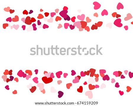 Hearts Border Horizontal Wedding Background Invitation Card Template Vector Heart Confetti With Place