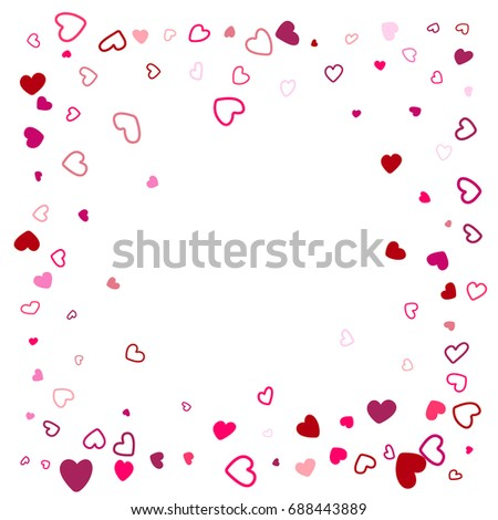 Hearts Border Wedding Background Invitation Card Template Vector Love Symbols Confetti Frame With Place