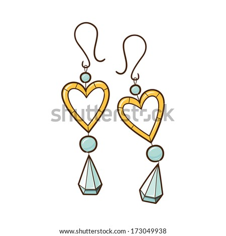 Hearts earrings isolated on white. Sketch vector element for romantic design - stock vector