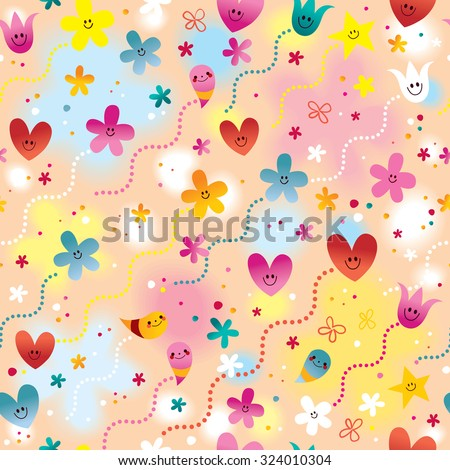 hearts, flowers and stars seamless pattern