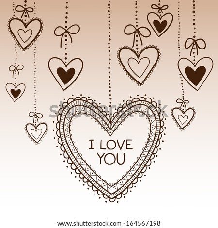 Hearts frame and border. Greeting card concept. Sketch vector design element for Valentine's day - stock vector