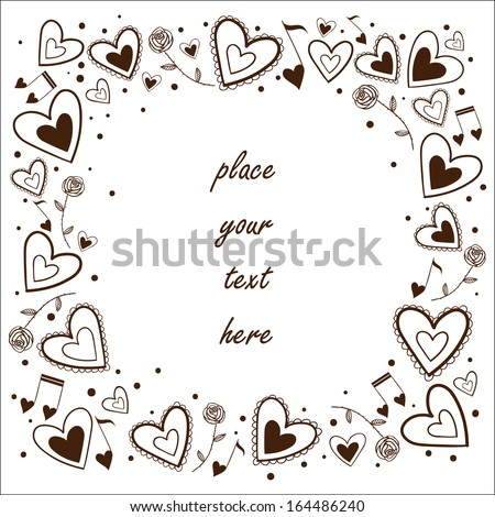 Hearts frame. Greeting card concept. Sketch vector design element for Valentine's day - stock vector