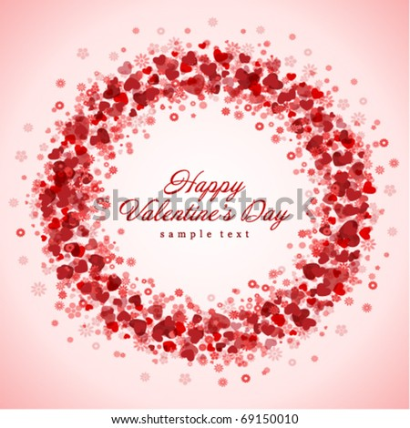 Hearts frame Valentine's day vector background