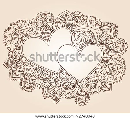 Hearts Henna Mehndi Valentine's Day Doodles Floral Paisley Design Vector Illustration - stock vector