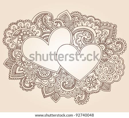 Hearts Henna Mehndi Valentine's Day Doodles Floral Paisley Design Vector Illustration - stock vector