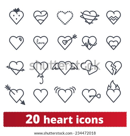 Hearts icons: vector set of love signs. - stock vector