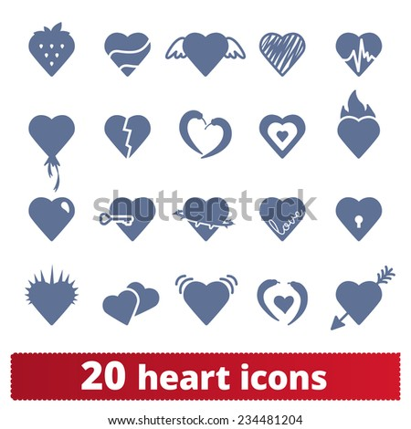 Hearts icons: vector set of love symbols. - stock vector