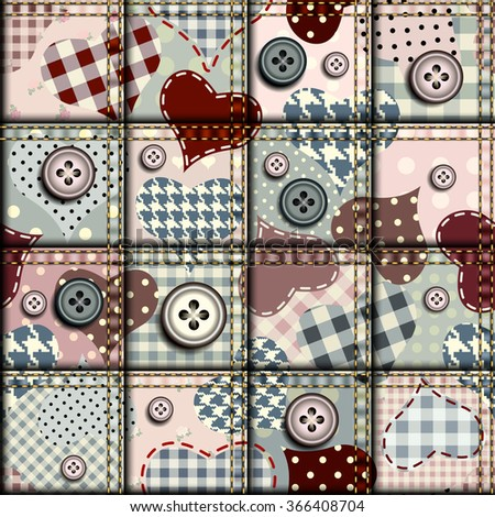 Hearts in scrapbook patchwork style. Seamless background pattern. - stock vector