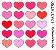 Hearts in various shades of red and pink color. Valentine's illustration - stock photo