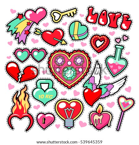 Hearts love badges stickers patches for romatic scrapbook design vector illustration