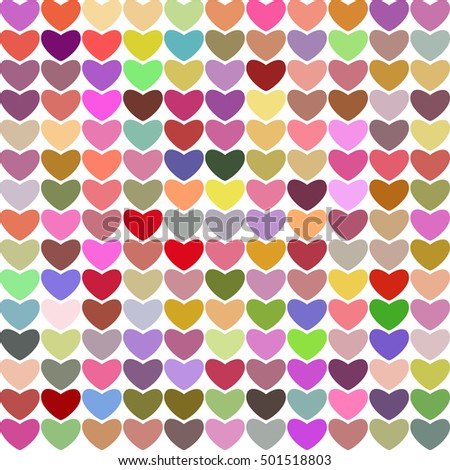 Hearts multicolored bright vector background