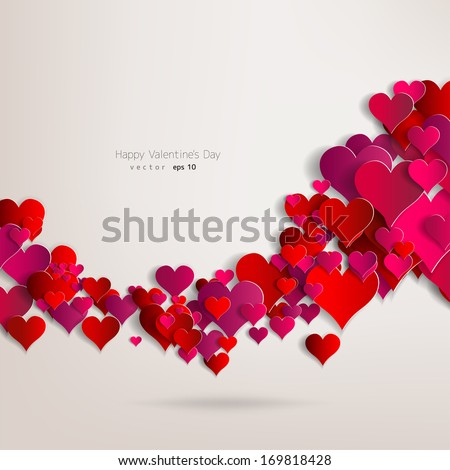 Hearts On Abstract Love Background.Be My Valentine.Love Romantic Messages  With Hearts.