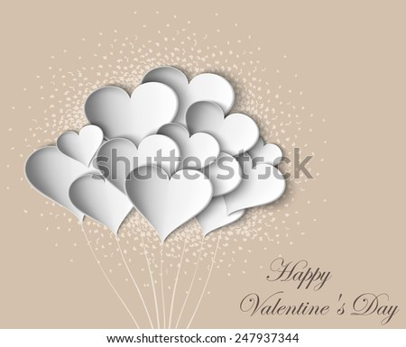 Hearts on Valentine Day with butterflies on pastel background - stock vector