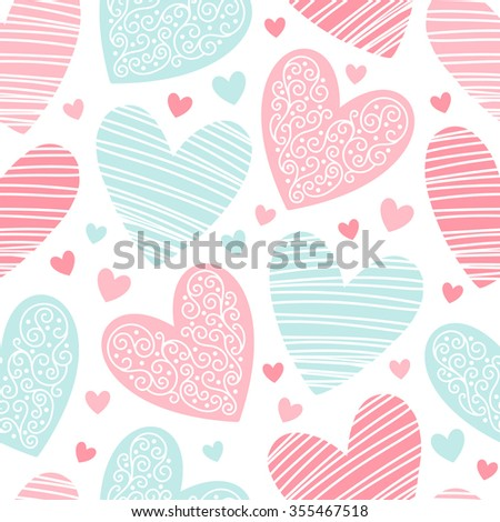 Hearts pattern with lacy ornamentation and hatching. Valentines day background. Seamless pattern made of ornamental hearts of various size.