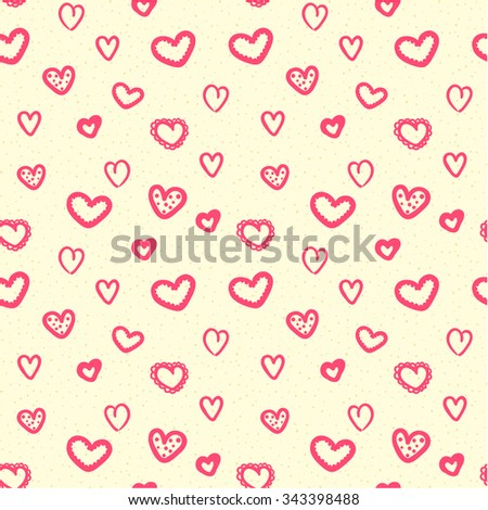 Hearts seamless pattern background, ideal for celebrations, wedding invitation, mothers day and valentines day - stock vector