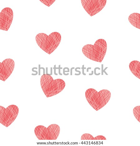 Hearts seamless pattern. Vector background with red hearts isolated on white. Valentine`s day design.
