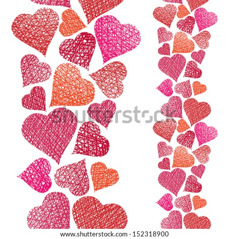 Hearts seamless pattern, vertical composition, Love theme seamless background, vector, hand drawn lines textures used. - stock vector
