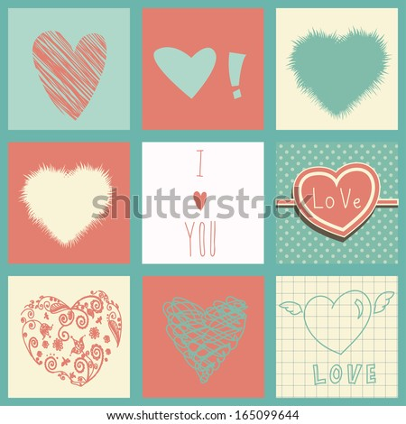 Hearts set for Valentines day and your greeting card