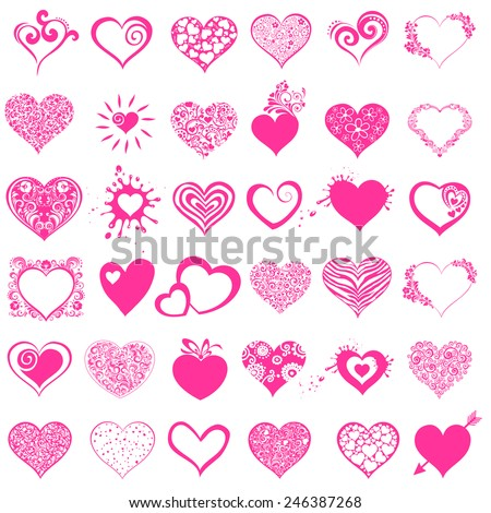 Hearts set for wedding and valentine design. Collection pink heart isolated on white background. Vector illustration  - stock vector