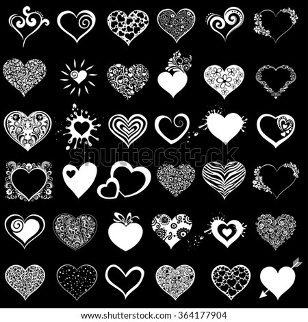 Hearts set for wedding and valentine design. White hearts isolated on Black background. Vector illustration - stock vector